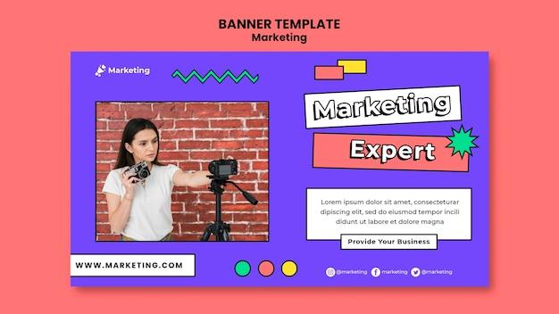 Sjabloon voor spandoek van marketingexpert