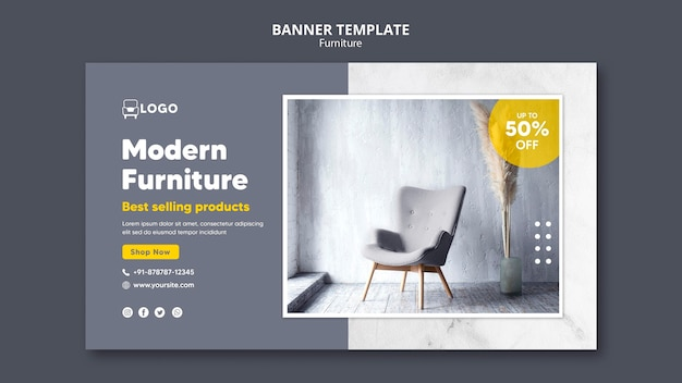 Sjabloon voor spandoek van moderne meubels