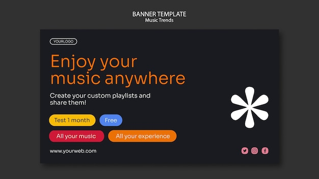 Sjabloon voor spandoek van muziek streaming platform