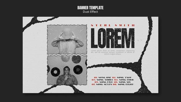 Sjabloon voor spandoek van muziekalbum met stofeffect