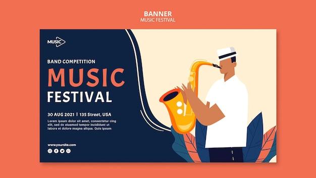 Sjabloon voor spandoek van muziekfestival