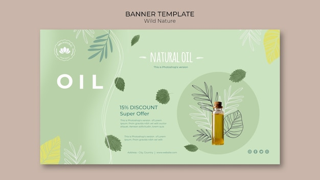Sjabloon voor spandoek van natuurlijke olie-speciale aanbieding