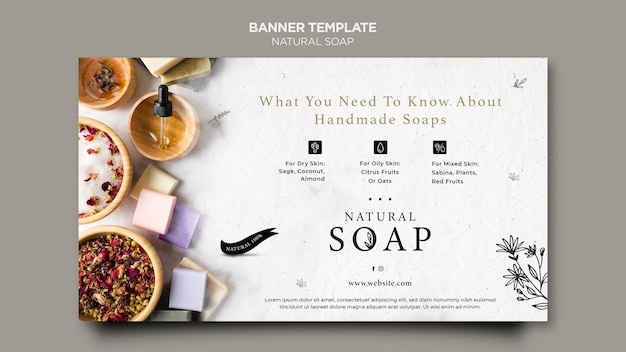 Sjabloon voor spandoek van natuurlijke zeep concept