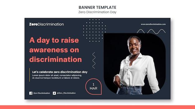 Sjabloon voor spandoek van nul discriminatie dag