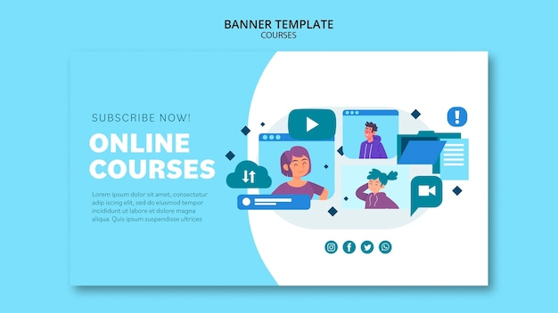 Sjabloon voor spandoek van online cursussen