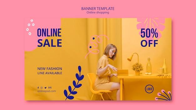 Sjabloon voor spandoek van online verkoop