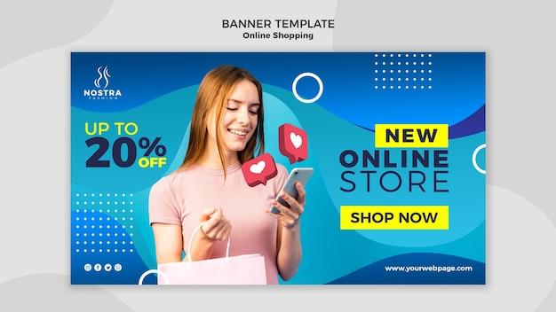 Sjabloon voor spandoek van online winkelen concept