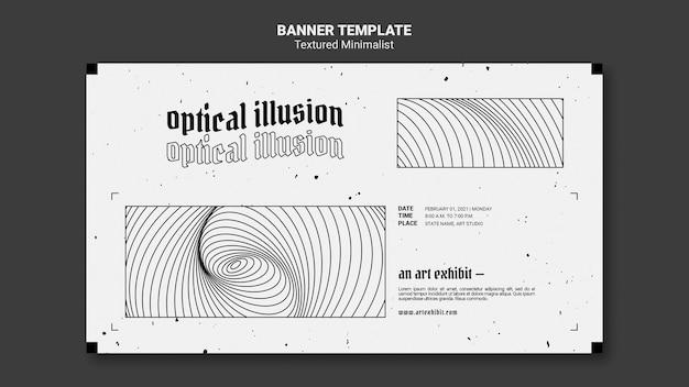 Sjabloon voor spandoek van optische illusie kunsttentoonstelling