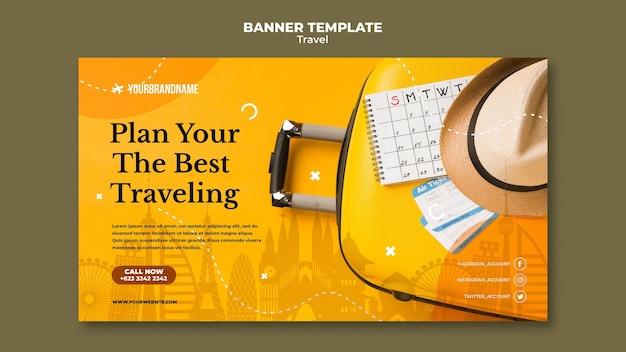 Sjabloon voor spandoek van reisbureau