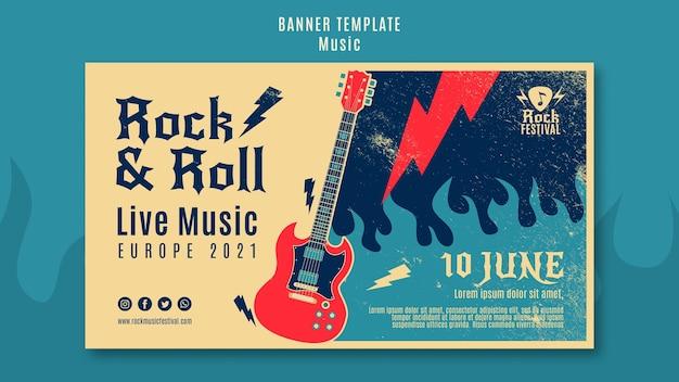 Sjabloon voor spandoek van rockmuziekfestival