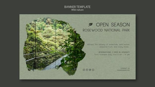 Sjabloon voor spandoek van rosewood nationaal park met bos en meer