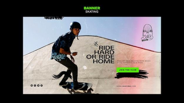 Sjabloon voor spandoek van schaatsen advertentie