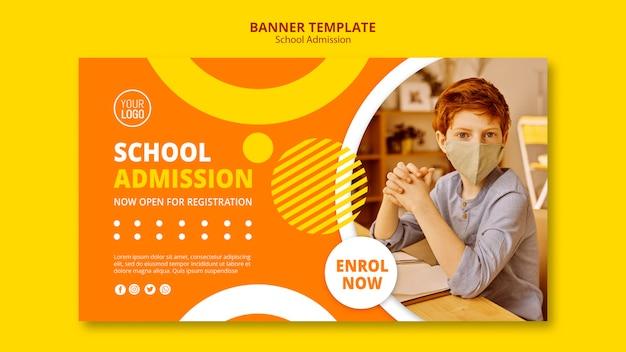 Sjabloon voor spandoek van school toelating concept