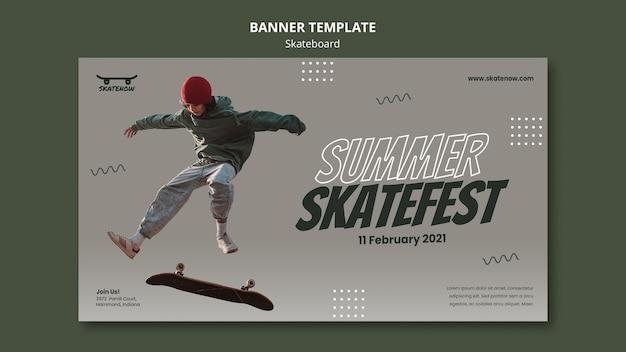 Sjabloon voor spandoek van skateboard les