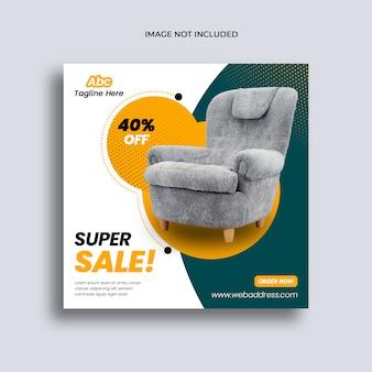 Sjabloon voor spandoek van sociale media meubels verkoop