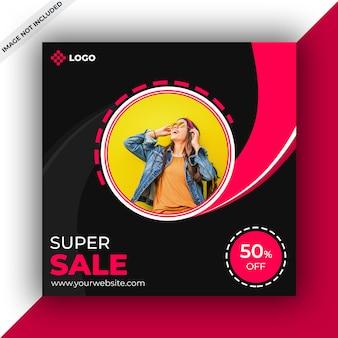 Sjabloon voor spandoek van sociale media van het verkoopweb