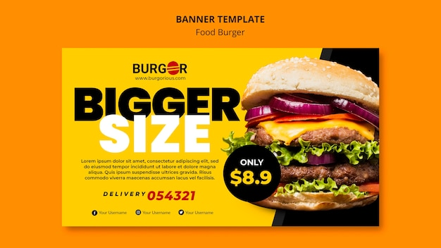 Sjabloon voor spandoek van speciale aanbieding voor hamburger