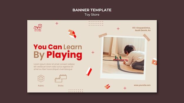 Sjabloon voor spandoek van speelgoedwinkel advertentie