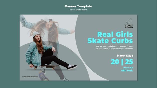 Sjabloon voor spandoek van straat skateboard