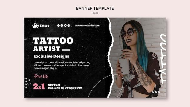 Sjabloon voor spandoek van tattoo-artiest