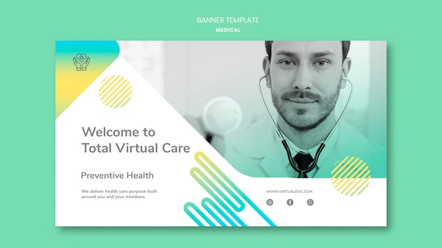 Sjabloon voor spandoek van totale virtuele zorg