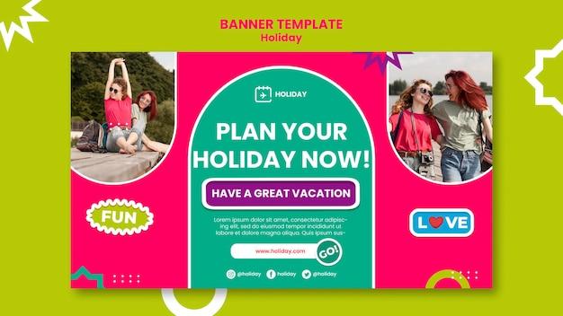 Sjabloon voor spandoek van vakantieplanning