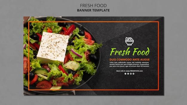 Sjabloon voor spandoek van vers voedsel advertentie