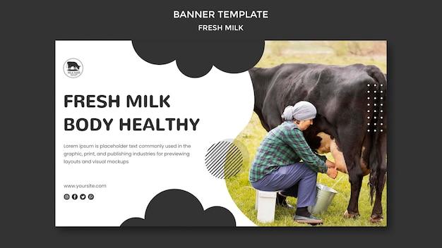 Sjabloon voor spandoek van verse melk met foto