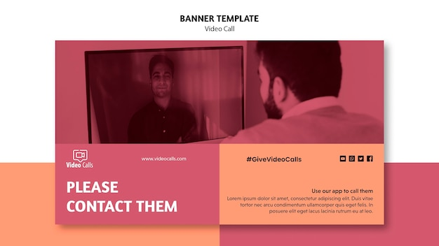 Sjabloon voor spandoek van videogesprek promotie
