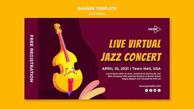 Sjabloon voor spandoek van virtuele jazzconcert