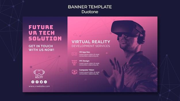 Sjabloon voor spandoek van virtuele realiteit in duotoon