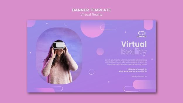 Sjabloon voor spandoek van virtuele realiteit samen spelen