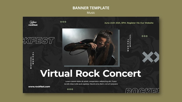 Sjabloon voor spandoek van virtuele rockconcert