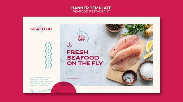 Sjabloon voor spandoek van visrestaurant