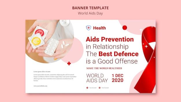 Sjabloon voor spandoek van wereld aids dag
