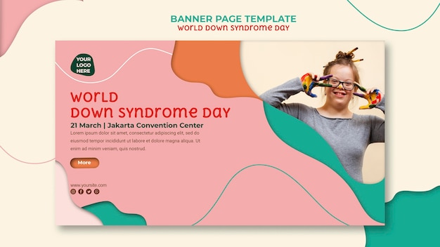 Sjabloon voor spandoek van wereld down syndroom dag