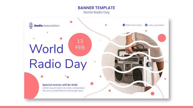 Sjabloon voor spandoek van wereld radio dag