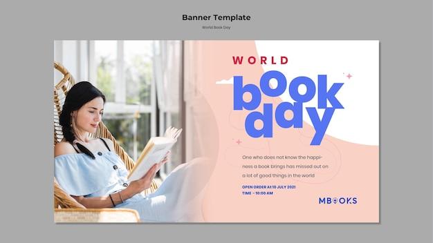 Sjabloon voor spandoek van wereldboek dag