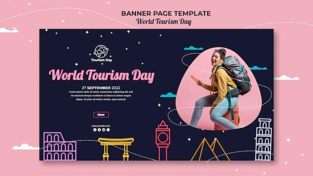 Sjabloon voor spandoek van wereldtoerisme dag