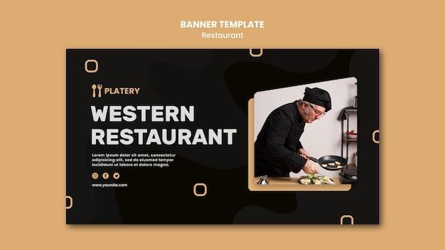 Sjabloon voor spandoek van westerse restaurant openen