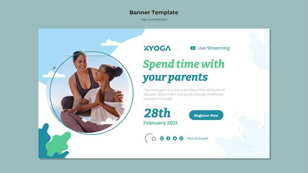 Sjabloon voor spandoek van yoga en meditatie