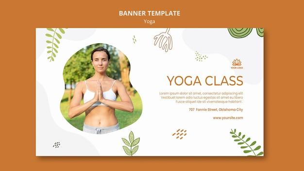 Sjabloon voor spandoek van yoga lichaamsbalans