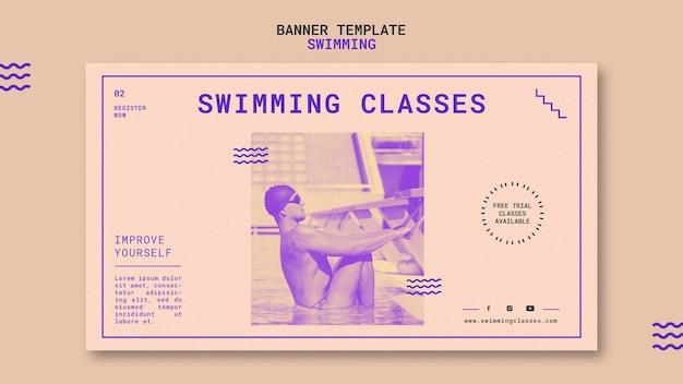 Sjabloon voor spandoek van zwemlessen