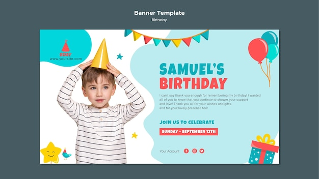 Sjabloon voor spandoek verjaardag voor kinderen