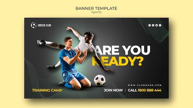 Sjabloon voor spandoek voetbal club trainingskamp Premium Psd