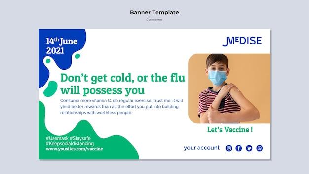 Sjabloon voor spandoek voor coronavirusvaccin