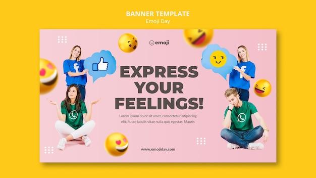 Sjabloon voor spandoek voor emoji-dag