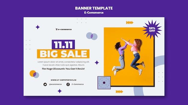 Sjabloon voor spandoek voor grote verkoop van e-commerce