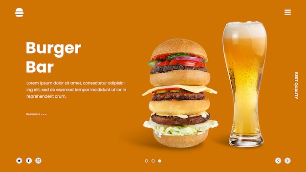 Sjabloon voor spandoek voor hamburger ad bierheld