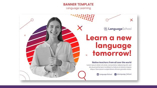 Sjabloon voor spandoek voor het leren van talen